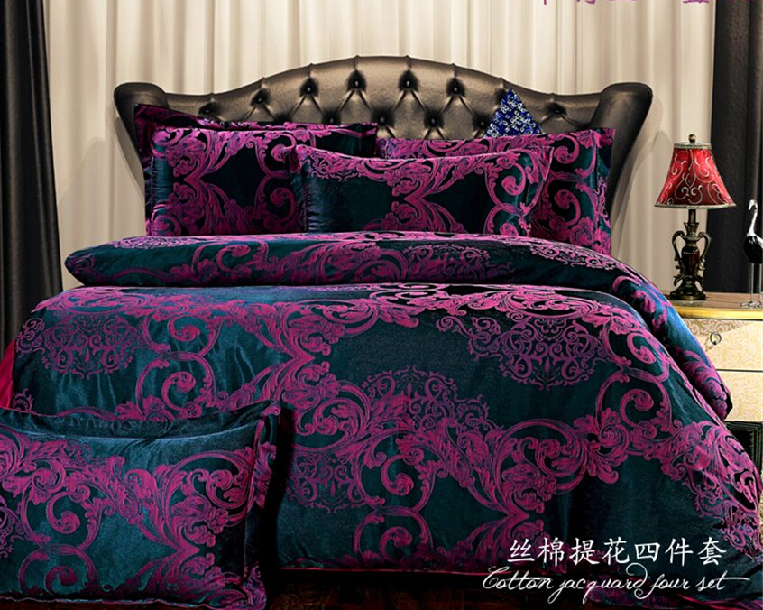 european bedding sets dark purple bedding cover set brand bed set bedspread king size embroidery. Black Bedroom Furniture Sets. Home Design Ideas