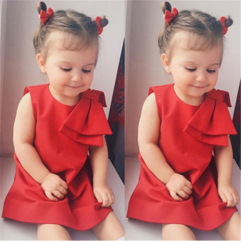USStock   Flower     Girls   Princess   Dress   Kids Baby Party Wedding Pageant Brief Cute Red Solid   Dresses
