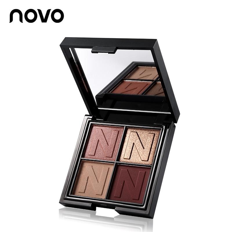 NOVO 4 Color Matte Glitter Eyeshadow Palette Shimmer Makeup Smoky Shining Eye Shadow недорого