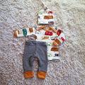 Niño recién Nacido Del Bebé Niñas Camiseta de Algodón Top + Pants 3 unids Outfit Set Ropa