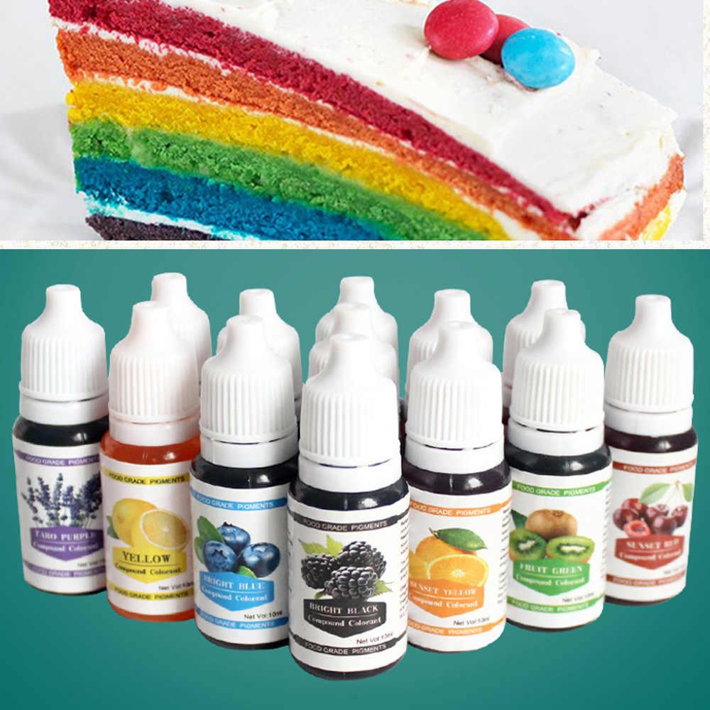 12 cores 10 ml macaron sorvete bolo ingredientes de coloração de alimentos bolo fondant cozimento bolo comestível cor pigmento ferramentas