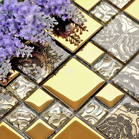 colorful crystal glass mixed plating metal mosaic tiles EHGM1024A for kitchen backsplash tile bathroom mosaic tiles wall cover