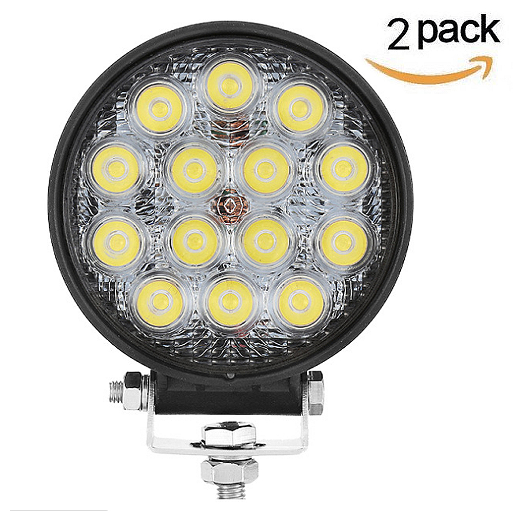 2PCS 42W LED Work Light for Indicators Motorcycle Driving Offroad Boat Car Tractor Truck 4x4 SUV ATV Flood 12V 24V 1pc 18w led work light for motorcycle driving boat car tractor truck suv 6 inch flood lights