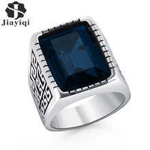 Jiayiqi Male Stainless Steel Ring Blue/Red/Yellow/Green Stone Jewelry Ring for Men Wedding Cubic Zirconia Ring Wholesale
