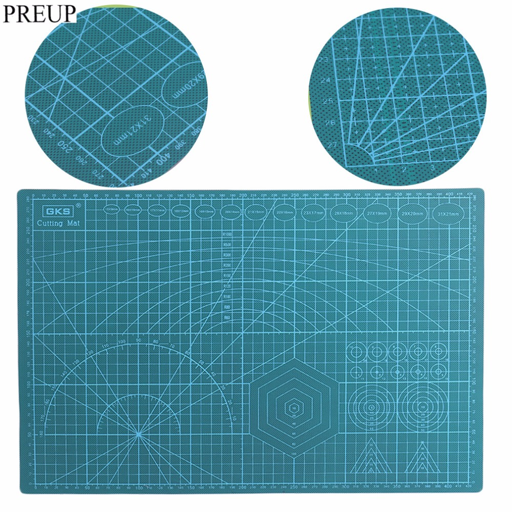 PREUP 30 45CM A3 High Quality Double Side PVC Rectangle Grid Lines Self Healing Cutting Mat