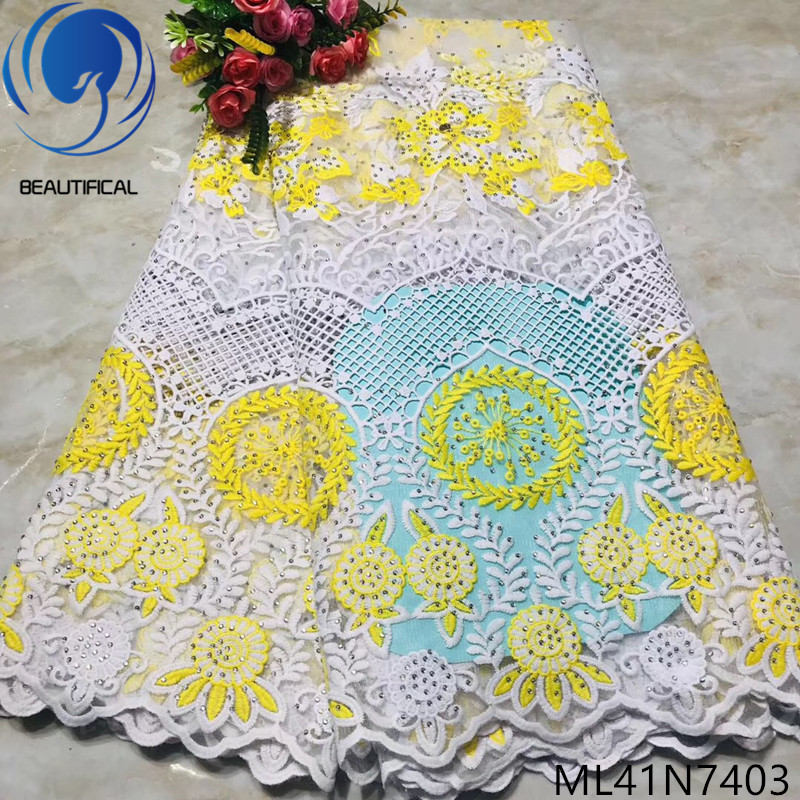 Beautifical nigerian lace fabrics Fashion yellow/white exquisite embroidery french lace fabric 5yards Net lace for dress ML41N74Beautifical nigerian lace fabrics Fashion yellow/white exquisite embroidery french lace fabric 5yards Net lace for dress ML41N74