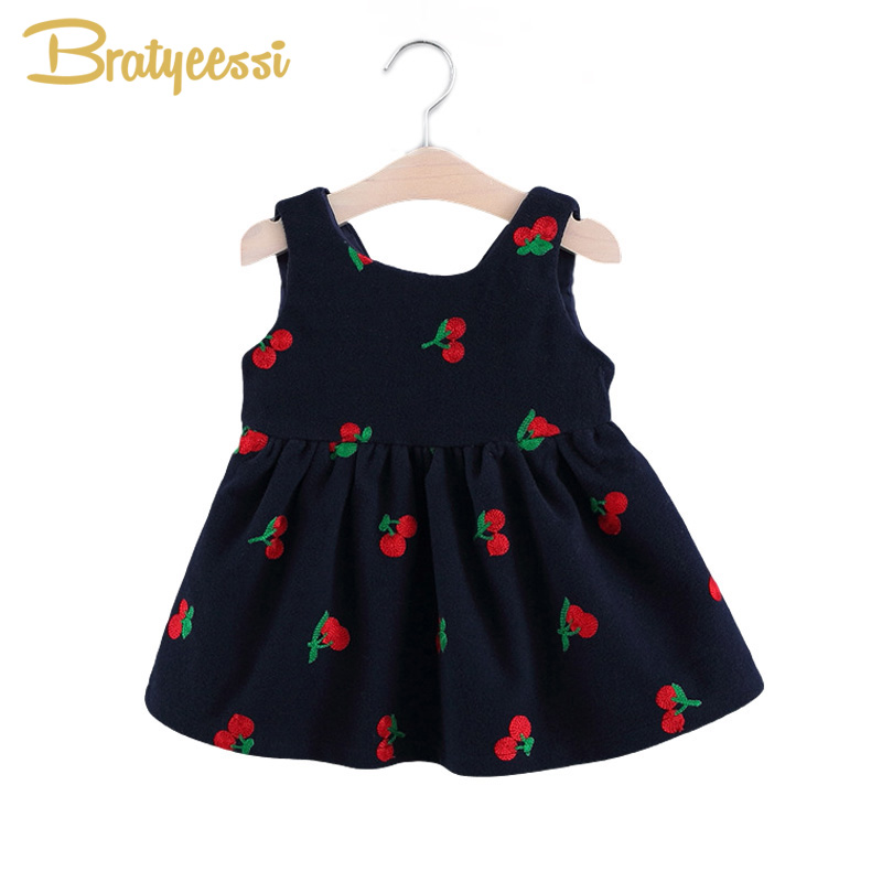 Cute Cherry Baby Girls Dresses with Bow Cotton A Line Sleeveless Strawberry Infant Dress Summer Baby Girl Clothes 4 Colors