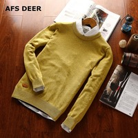 Pullover Men O Neck Sweater Solid Color Men Long Sleeve Shirt Mens Sweater Wool Casual Dress