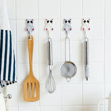 Hook Panda Pattern Cute Hook Lasting Power Cartoon Bear No Trace Glue Hook Kitchen Door Back Hook Plastic Coat hook Strong #or(China)