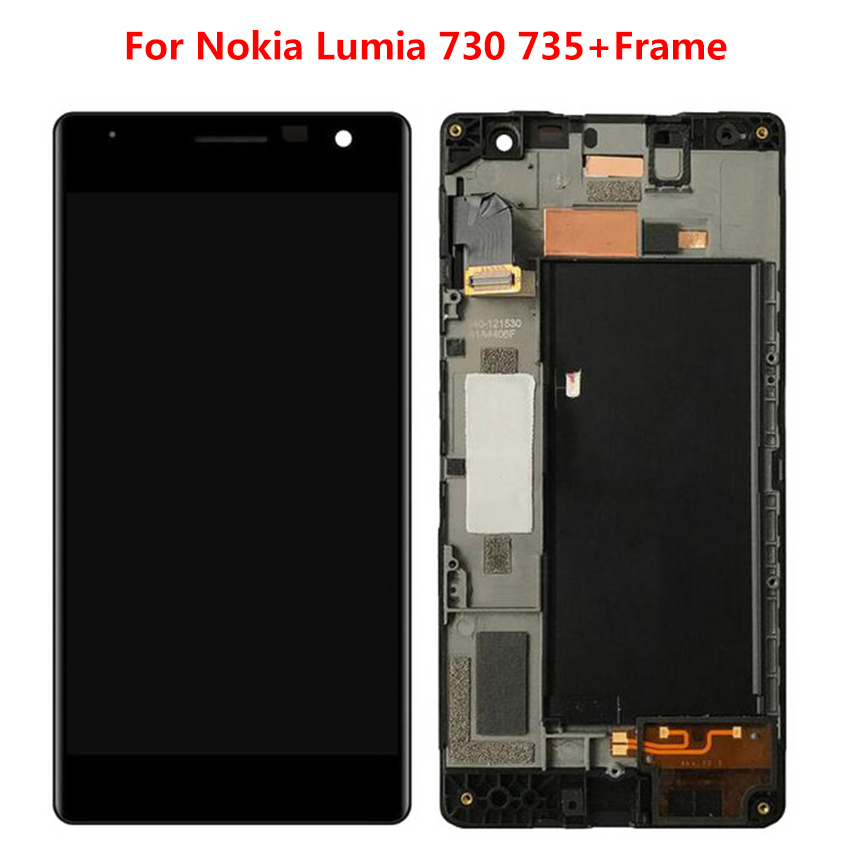 For Nokia Lumia 730/735 LCD Touch Screen LCD Display Digitizer Assembly Replacement Parts with FrameFor Nokia Lumia 730/735 LCD Touch Screen LCD Display Digitizer Assembly Replacement Parts with Frame