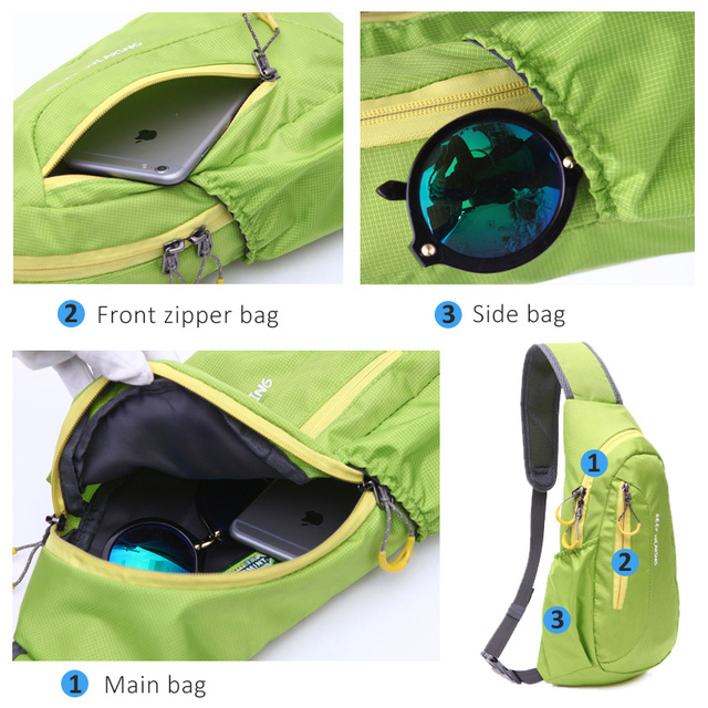 Hot Brand New Unisex Waterproof Nylon Chest Bag Men Women Running Shoulder Bag Diagonal Outdoor Sports Gym Bag sacs de course 2