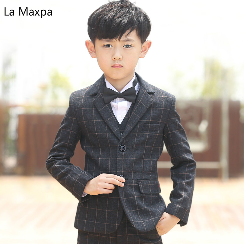 Children Wedding Party Formal Clothes Boys Long Sleeved Plaid Suits  Birthday Party Piano Host Show Thick 45abccc09d22