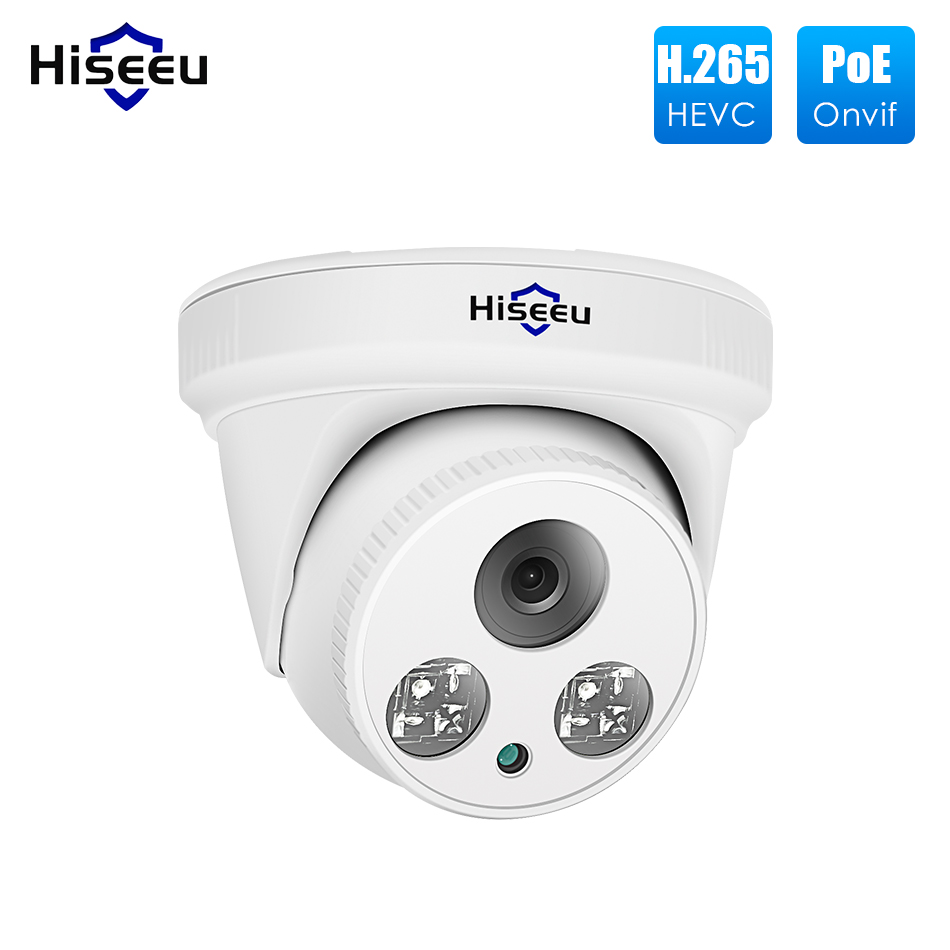 Hiseeu 2MP H.265 POE IP Câmera Dome Câmera 1080P Night Vision Detecção de Movimento ONVIF P2P Para PoE NVR 3.6 lente de Visão Aplicativo 30fps