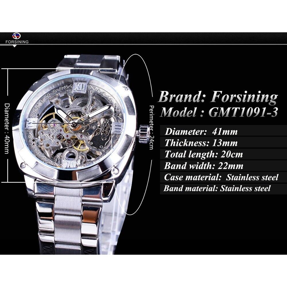 Image 3 - Forsining, серебряные часы, складная застежка, с безопасной застежкой, Мужские автоматические часы, Лидирующий бренд, роскошные прозрачные часы, светящиеся стрелки-in Механические часы from Ручные часы on AliExpress - 11.11_Double 11_Singles' Day