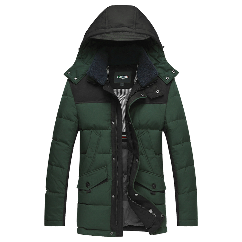 DZYS Men's 90% Duck   Down   Jacket Thick Warm   Down     Coat   with Hat Detachable for Men Male 5632