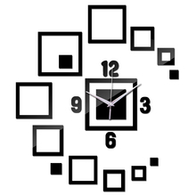Stickers Mirror Wall-Clock Squares Special-Offer Acrylic Household Modern Diy 14 Decor-Surface