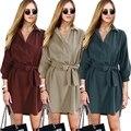 Мода Vestidos 2017 Весна женская Негабаритных Блузка Платья С Поясом V-образным Вырезом Дамы Плюс Размер Короткий Офис Работа Нерегулярные Dress