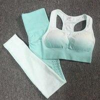 2PCS Ombre Energy Seamless Women GYM Set Sport Suit Workout Clothes Fitness Clothes Sport bra + hollow out Leggings Yoga Set