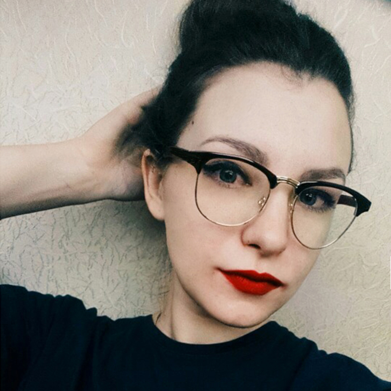 RBUDDY ponarejena okrogla prozorna očala polokvirna očala prozorna okvirja za ženske mačja očala optična leča moški oculos de grau