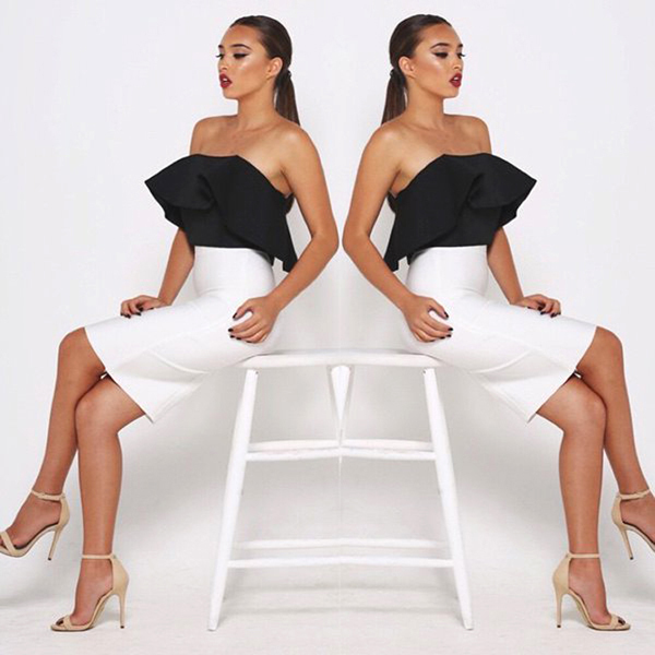 8cb38381025 New Fashion Sleeveless Sexy Bodycon Dress Crop Top 2 pieces set Ruffle Off  Shoulder Dresses Women Two Pieces Outfits
