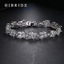 HIBRIDE JEWELRY Brand AAA Cubic Zircon Wedding Bracelets,White Color Luxury Women Jewelry Bracelets For Women, B-005