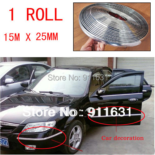 1 roll/set 25mm x 15 Meters roll DECORATION CHROME SILVER MOULDING TRIM CAR BUMPER PROTECTOR STRIP with 3M stick
