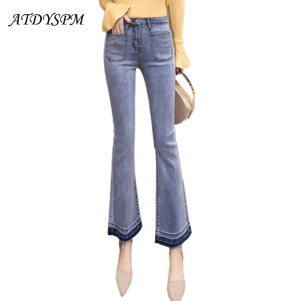 New Fashion Stretch   Jeans   For Women High Waist Flare Pants   Jeans   Vintage Tassel Denim Pants Slim Color Stitching Casual   Jeans