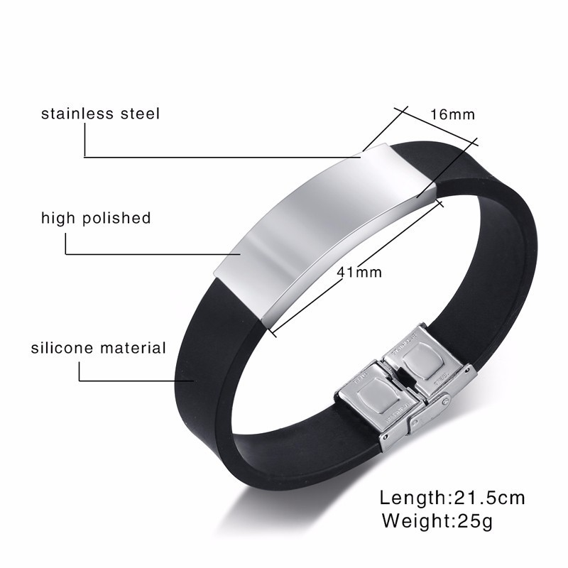Wide Personalize Bracelet for Men Soft Silicone Band with Stainless Steel ID Tag Custom Family Friends BFF Custom Unique Gifts in Chain Link Bracelets from Jewelry Accessories