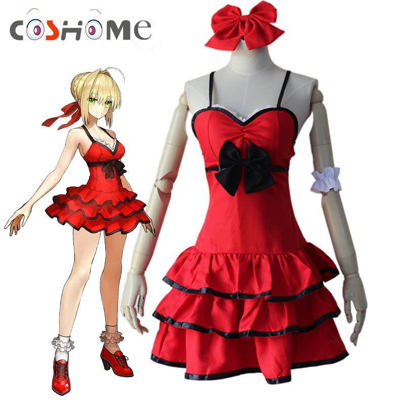Coshome Anime Fate/EXTRA Last Encore Nero Dress Saber Cosplay Costumes Summer Lolita Red Women Dresses For Halloween Party