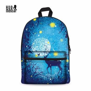 abb45d6ee1bf Рюкзак с принтом лося школьные сумки для девочек-подростков Sac Dos Femme  15 дюймов Повседневная сумка рюкзак для студентов и школьников