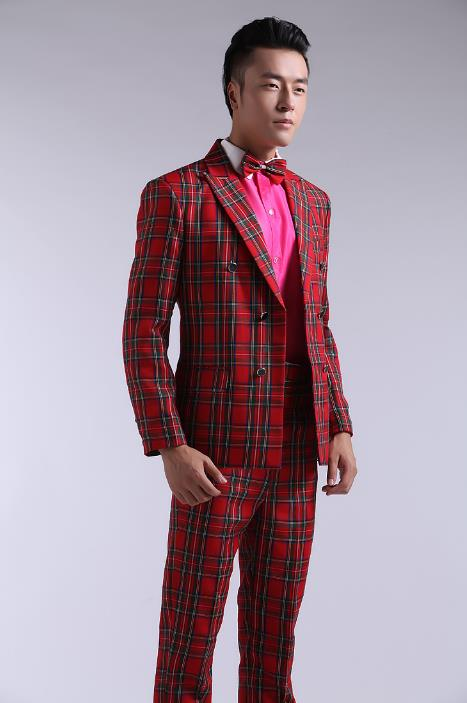 Red plaid blazer men formal dress latest coat pant designs suit men costume terno trouser marriage wedding suits for mens ...