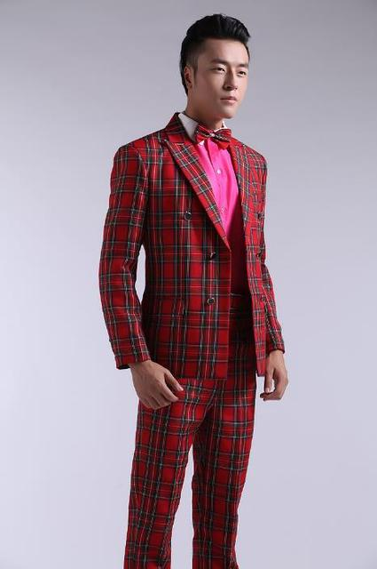 Red plaid blazer men formal dress latest coat pant designs suit men ...