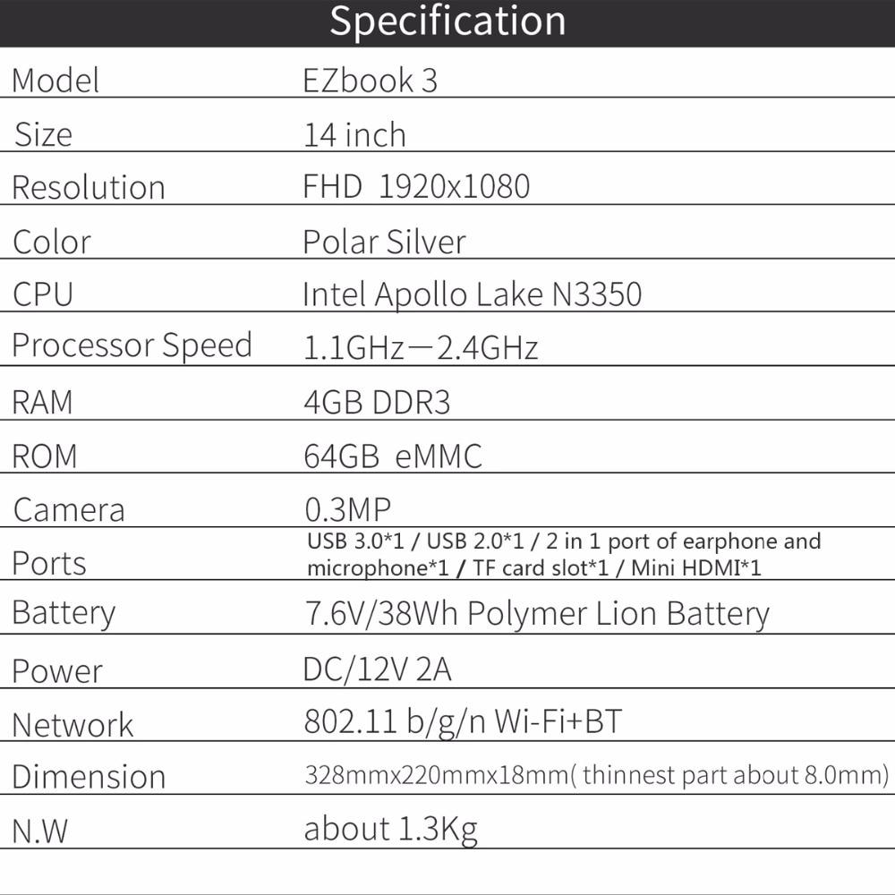 Jumper EZbook 3 Intel apollo N3350 Laptop 14 Zoll Windows 10 ...