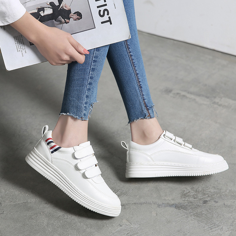 Jookrrix 2018 New Spring Fashion Brand Girl Casual White Shoes Women Sneaker Lady Leisure Platform Shoes Cross-tied Lace Up Soft