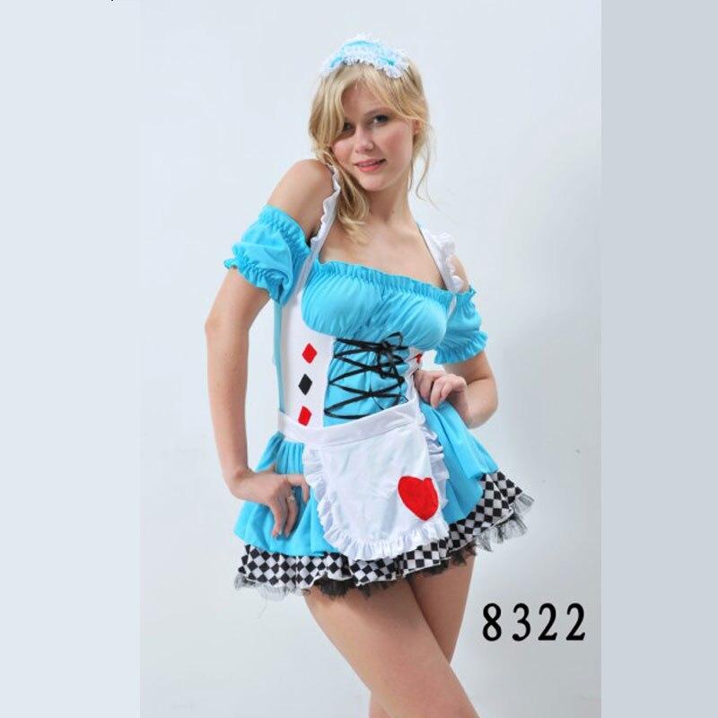 Сексуальный взрослый с открытыми плечами светло-голубой цвет костюм горничной для женщи, Фартук Горничная французские костюмы