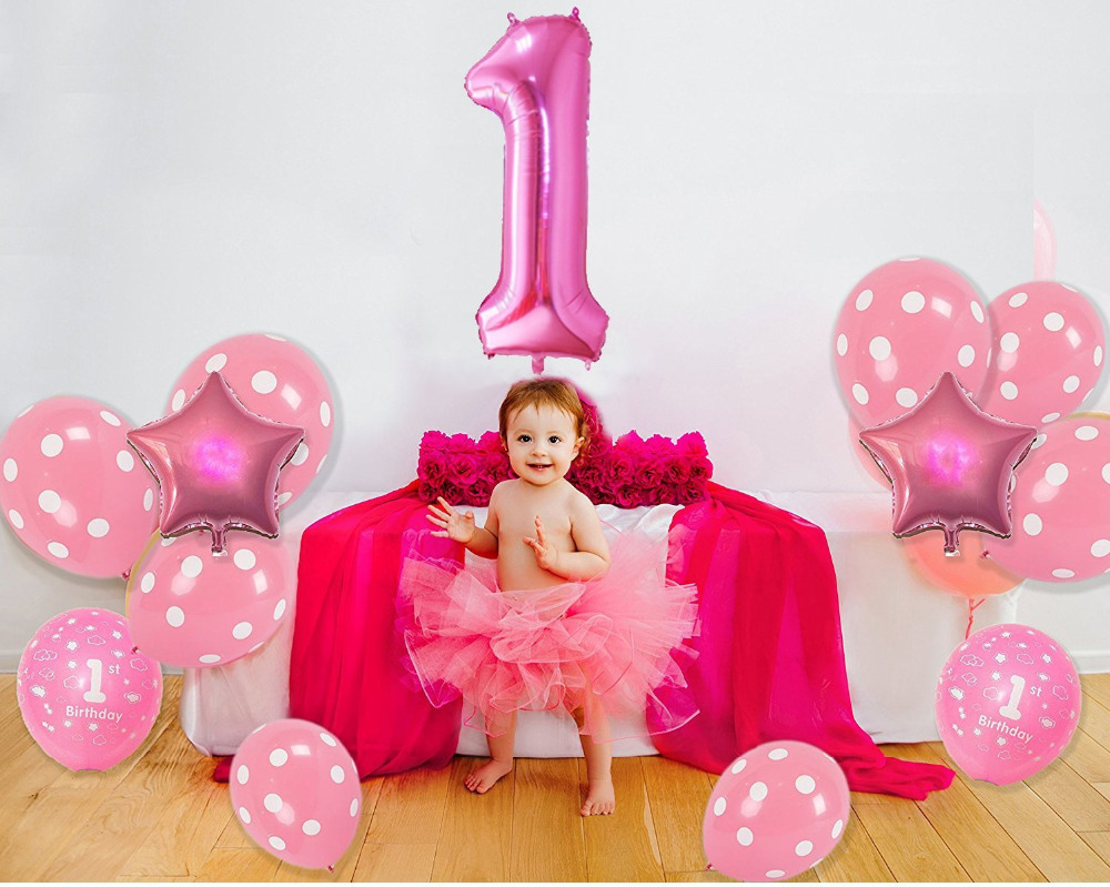 1st Happy Birthday Decorations Pink Gold Balloons For Kid Baby Shower Girl Number 1 Latex Baloons Classic Toys In Ballons Accessories
