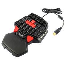 купить Creative gift T9 47-Keys Single Hand wired Professional gaming keyboard 3-Color LED Backlight Ergonomic Keypad дешево