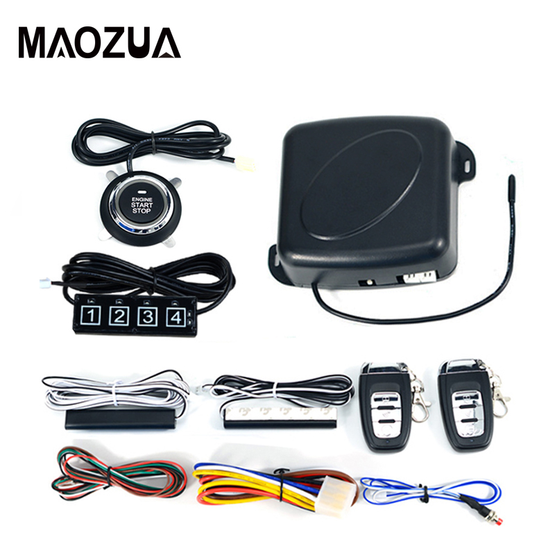 Car One Start Stop Alarm Engine Auto Car Remote Control PKE Keyless Push Button Entry System Starter Anti-theft System fuzik keyless go smart key keyless entry push remote button start car alarm for honda accord odyssey crv civic jazz vezel xrv