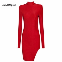 new women long sleeve shoulder pads split winter dresses high neck sexy red pink black bodycon evening party bandage dress 2019