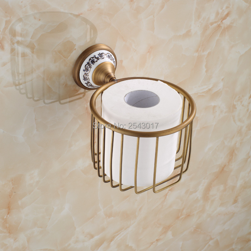 купить  Bathroom Accessories Toilet Roll Paper Holder High Quality Antique Bronze Finish Wall Mounted Copper Brass Shampoo Basket ZR2343  недорого