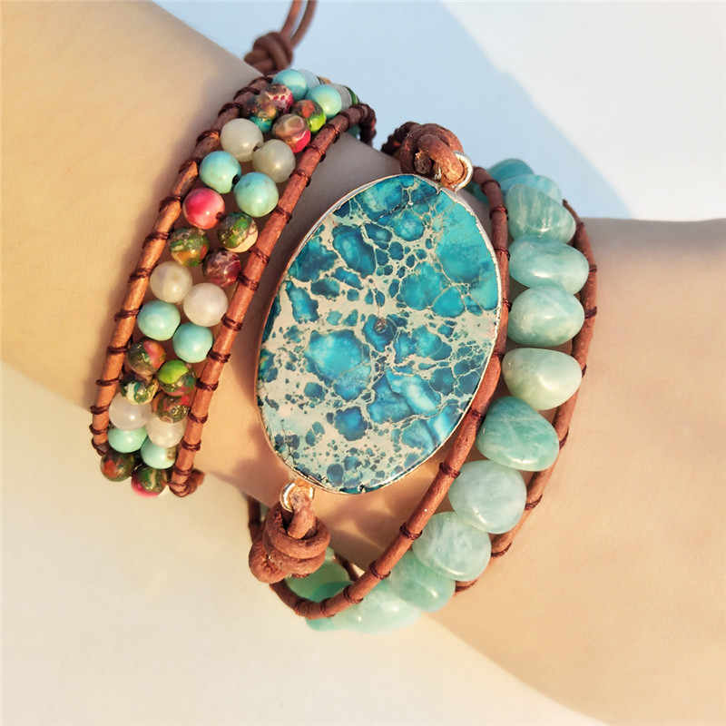 High End 2018 - 3X Leather Wrap Beaded Bracelet  Huge Regalite Bracelet, Boho Chic Jewelry, Bohemian Bracelet Drop Shipping