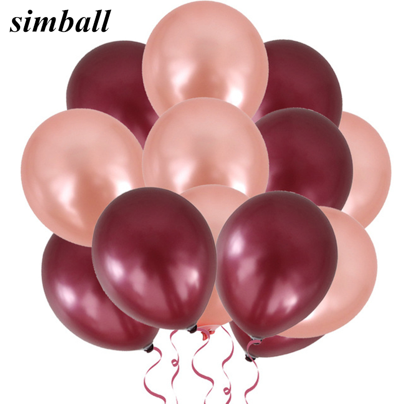100pcs 12inch Thick 3.2g Pearl Latex Ballon Inflatable Wine Red Rose Gold Air Ball Wedding Decoration Birthday Party Baby Shower