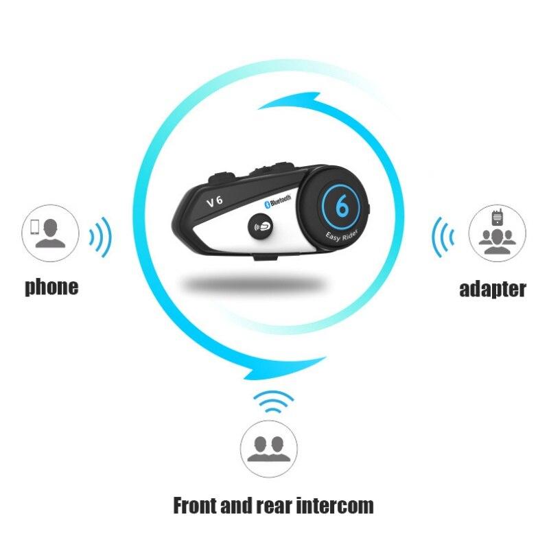 Motocykl Vimoto V6 zestaw słuchawkowy Bluetooth do kasku 1000m domofon wielofunkcyjne słuchawki Stereo do radiotelefonów GPS