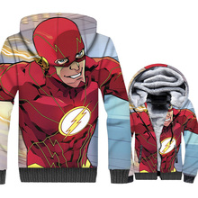 The Flash Jacket Men Super Hero Hoodie Hooded Sweatshirt Winter Thick Fleece Warm Zipper 3D Print Coat Cool Streetwear Homme 5XL
