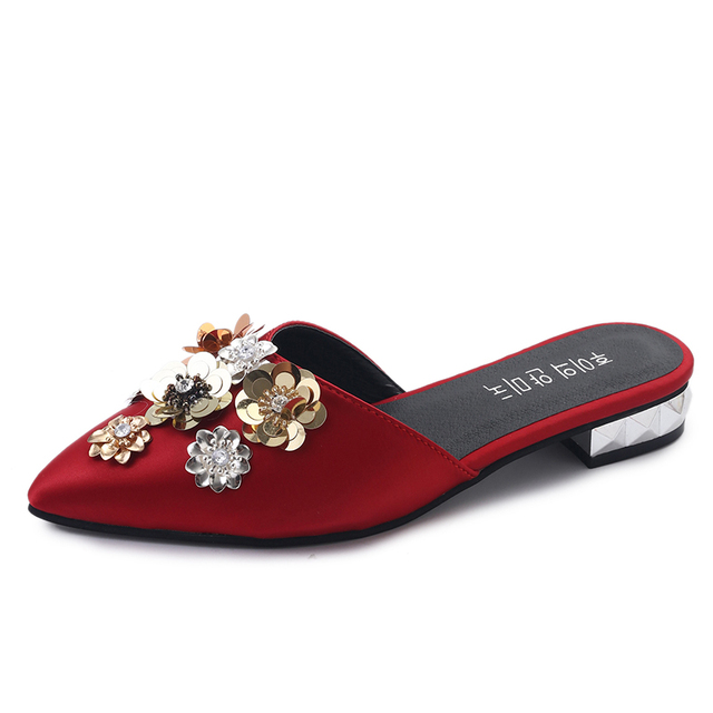 Sexy Pointed Toe Sequin Flower Women Slippers Sandals Luxury Low ...