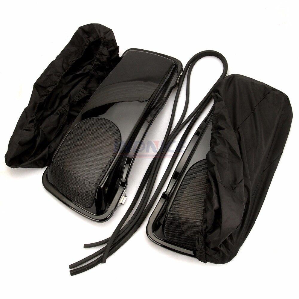 Vivid Black 5x7/'/' Speaker Saddlebag Lids For 1993-2013 Harley Davidson Touring