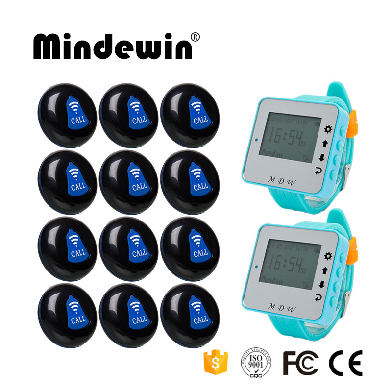 Mindewin Wireless Waiter Call System Restaurant Buzzer System 12PCS Call Buttons M-K-1 and 2PCS Wrist Watch Pagers M-W-1 wireless table call system monitor bell buzzer used in the cafe bar restaurant 433 92mhz 2 display 1 watch 18 call button