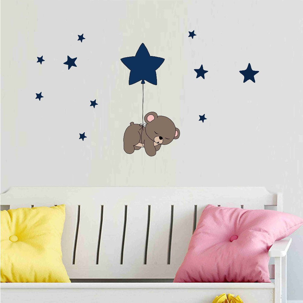Cute cartoon bear Nursery Wall Stickers funny lovely Animals wallpaper Home Decor for Kids Room Baby room bedroom wallpaper (1)