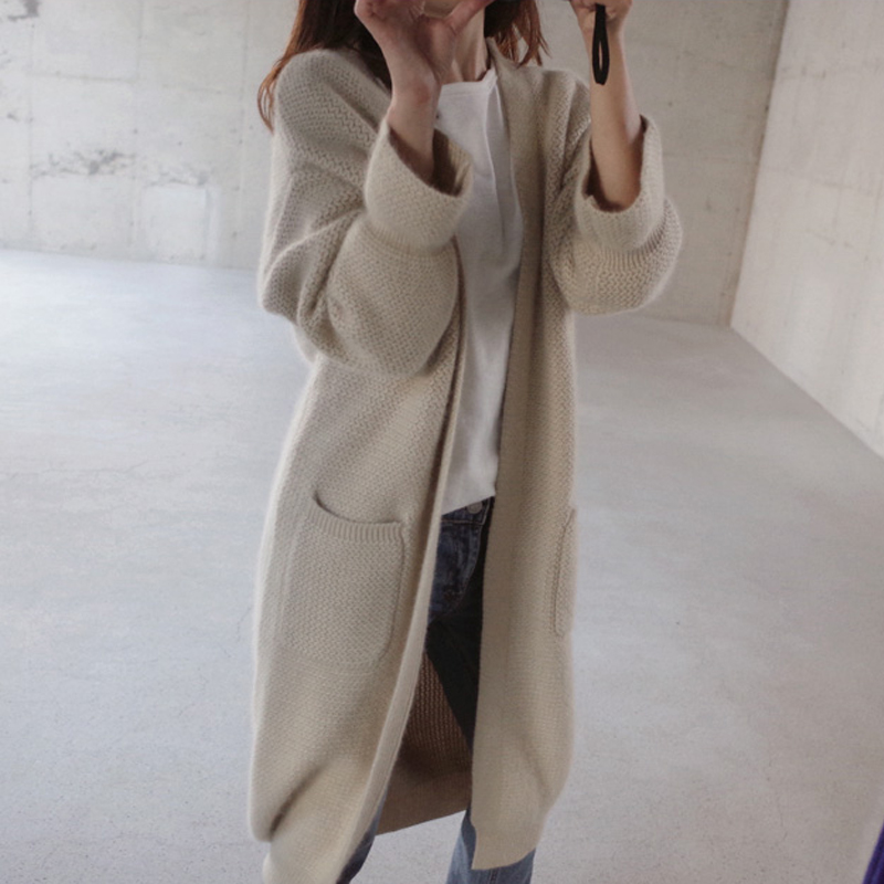 Pull Rushed Limited 2017 Autumn And Winter Loose Long Sweater Coat Trumpet Sleeves Thick Rod Needle Large Size Knitted Cardigan