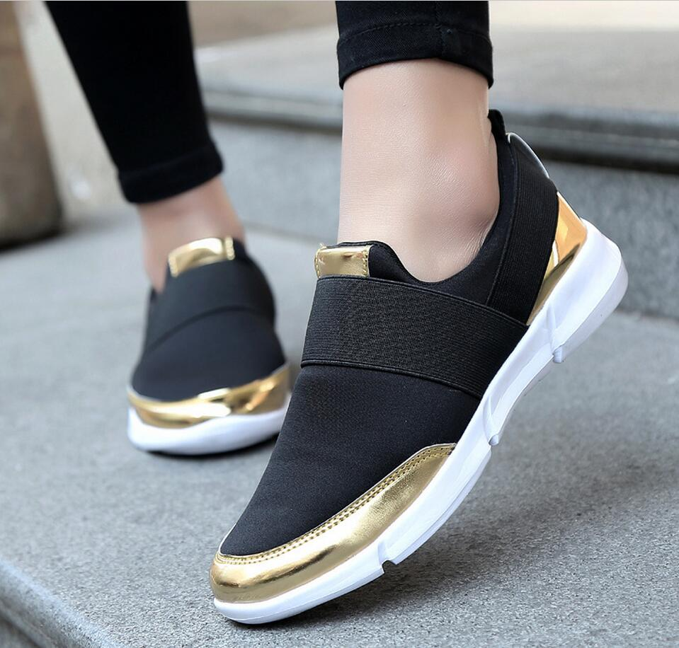 New 2017 mesh breathable shoes chaussure spring fashion casual women flat bottom shoes slip on plus